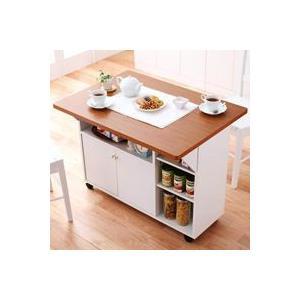 日本製!キッチンワゴン バタフライテーブル キッチン収納 キッチンカウンター キャスター付の写真
