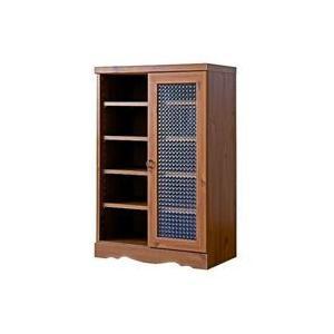 アンティーク調キャビネット60cm幅,レトロ調シェルフ,リビング収納,本棚,書棚,食器棚,クロスガラス仕様