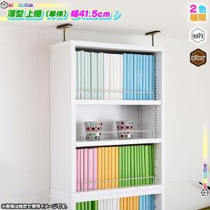 薄型 上置き棚 幅41.5cm 本棚用 書棚用 オープンラック 壁面収納 上棚 文庫本 コミック CD DVD ブルーレイ 収納 可動棚付|zak-kagu