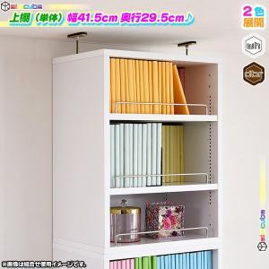 上置き棚 幅41.5cm 奥行29.5cm 本棚用 書棚用 オープンラック 壁面収納 上棚 文庫本 コミック CD DVD ブルーレイ 収納 可動棚付|zak-kagu