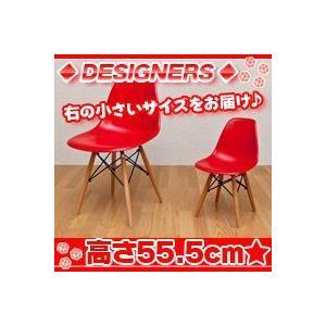 ミニイームズチェア DSW/赤(レッド) 子ども用シェルチェア キッズチェア 椅子 ウッドベース|zak-kagu