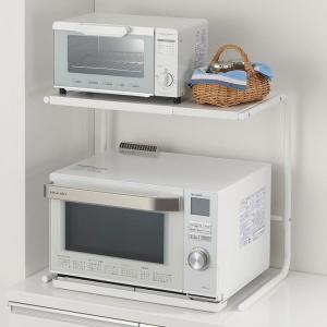レンジ上ラック 電子レンジラック 横幅 伸縮ラック 調味料棚 卓上プリンターラック 卓上棚 上置き棚 ハイタイプの写真