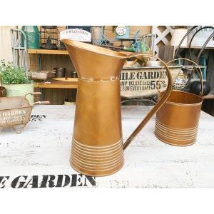 アンティークゴールド ブリキピッチャーBRZ/ ガーデン ガーデニング 雑貨 ナチュラル インテリア おしゃれ かわいい フラワーポット|zakka-candy