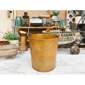 アンティークゴールド 木製ハンドル ブリキバケツBRZ / ガーデン ガーデニング 雑貨 ナチュラル インテリア おしゃれ かわいい|zakka-candy