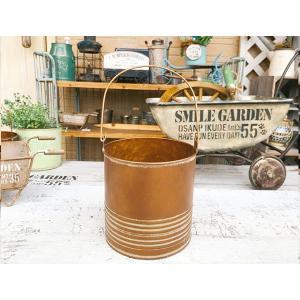 アンティークゴールド ブリキバケツBRZ L / ガーデン ガーデニング 雑貨 ナチュラル インテリア おしゃれ かわいい プランター 鉢 寄せ植え|zakka-candy