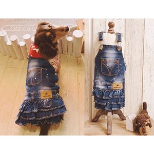 わんこ服 犬服 デニム ジャンパースカート / 犬 ペット ドッグ わんこ服 犬服 いぬ服 スカート かわいい|zakka-candy