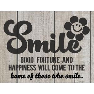 オリジナルステンシルシート Smile +フラワー / メール便OK DIY リメカン ハンドメイド おしゃれ かっこいい|zakka-candy