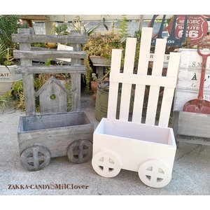 木製プランター ウッド フェンス  車輪付きポット / ガーデン ガーデニング インテリア ナチュラルガーデン おしゃれ かわいい