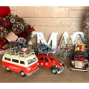 ノスタルジックデコ クリスマス レトロカーS /  車 プレンゼントビートル  ディスプレイ 可愛い かわいい  レトロ ワーゲン風 typ2  アンティーク|zakka-candy