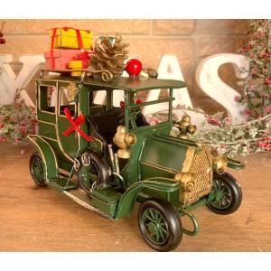 ノスタルジックデコ ティンクリスマスカー レトロカー プレゼント グリーン/ 車 プレンゼント present ディスプレイ 可愛い かわいい  レトロ アンティーク|zakka-candy