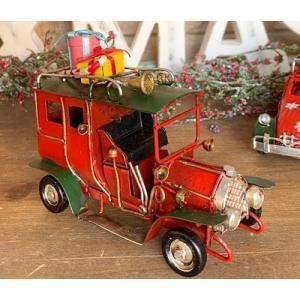 ノスタルジックデコ ティンクリスマスカー レトロカー S プレゼントRxG/ 車 プレンゼント present ディスプレイ 可愛い かわいい  レトロ アンティーク|zakka-candy