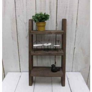 ラダーシェルフ ラダーラック 飾り棚 壁付け 壁掛け ラック おしゃれ アンティーク 雑貨 賃貸 木製 北欧風 ブラウン 茶 3段 ミニはしご階段型の写真