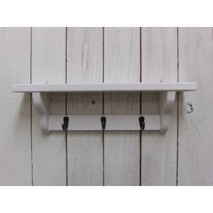 ウォールシェルフ ウォールラック 飾り棚 壁付け 壁掛け ラック おしゃれ アンティーク 雑貨 押しピン 画鋲 賃貸 木製 ミニアイアンフック付 ホワイトの写真