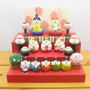 デコレ コンコンブル お花いっぱいひなまつり お花雛 猫セット 豪華ひな壇 装飾小物セット DECOLE concombre ひな祭り 春 雛人形 節句 雑貨 オブジェ|zakka-fleur