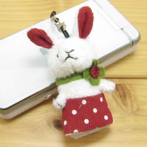 携帯ストラップ グッドラック ウサギのポルカ・携帯クリーナー(パペットタイプ) goodLuck オシャレ スマホ グッズ うさぎグッズ ウマ アイテム|zakka-fleur