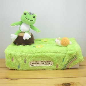 かえるのピクルス(カエルのピクルス) 絵本アートシリーズ ティッシュカバー カエル雑貨 カエルの置物 ケース ボックス|zakka-fleur
