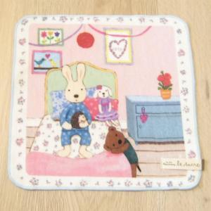 ハンカチ ルシュクル 10th インクジェットタオルハンカチ ベッド レディース  le Sucre タオルハンカチ ハンカチギフト うさぎのルシュクル ウサギ雑貨|zakka-fleur