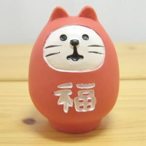 デコレ コンコンブル  フクモノ DECOLE concombre fukumono 福ねこだるま(紅)マスコット オブジェ 置物 飾り インテリア雑貨 zakka-fleur