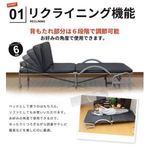 代引き不可/リクライニング 折りたたみベッド シングル ネイビー シングルベッド リクライニング|zakka-gu-plus|02