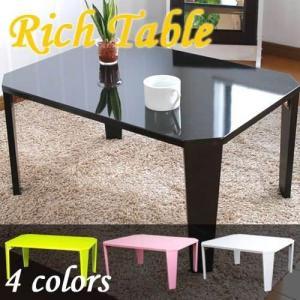 鏡面 折りたたみテーブル リッチ 折りたたみ テーブル 高さ32cm 折れ脚|zakka-gu-plus