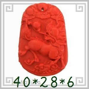 堆朱 人工漆 彫漆 ビーズL12 麒麟 1個|zakka-hanakura