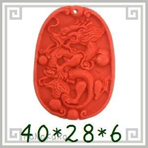 堆朱 人工漆 彫漆 ビーズL13 唐枠龍 1個|zakka-hanakura