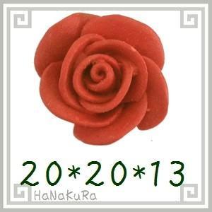 堆朱 人工漆 彫漆 ビーズM02 バラ20mm 1個|zakka-hanakura