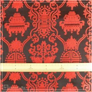 チャイナシルク 中華 生地 01 黒吉祥 幅74cm 1m レーヨン 絹 シルク 混合|zakka-hanakura