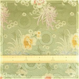 チャイナシルク 中華 生地 02 緑彩花 幅74cm 1m レーヨン 絹 シルク 混合|zakka-hanakura