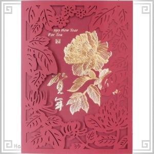 中国 春節 年賀カード 新年 年賀状 大152 剪紙枠金牡丹_賀年|zakka-hanakura