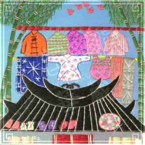 刺繍画 中国 蘇州 刺繍絵 03 昼下がりの屋根上 11.5cm 手刺繍 額無し zakka-hanakura