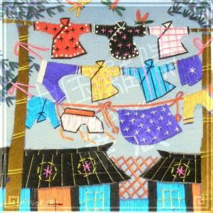 刺繍画 中国 蘇州 刺繍絵 06 木々に揺れる洗濯物 11.5cm 手刺繍 額無し zakka-hanakura