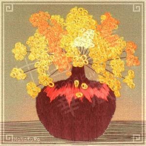 刺繍画 中国 蘇州 刺繍絵 07 円繍花 11.5cm 手刺繍 額無し zakka-hanakura