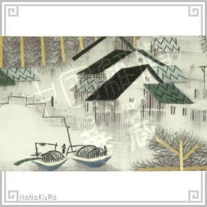 刺繍画 中国 蘇州 刺繍絵 10 水に霞む町 11.5×17.5cm 手刺繍 額無し zakka-hanakura