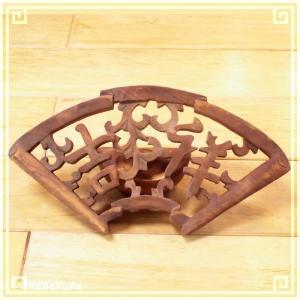 木彫り彫刻 クスノキ 彫刻板 S09 吉祥扇 天然木 楠木 樟 手彫り|zakka-hanakura