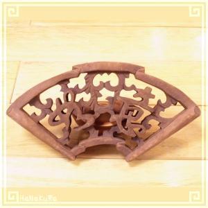 木彫り彫刻 クスノキ 彫刻板 S10 如意扇 天然木 楠木 樟 手彫り|zakka-hanakura