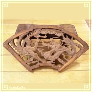 木彫り彫刻 クスノキ 彫刻板 M04 龍凰A 天然木 楠木 樟 手彫り 現品お届け|zakka-hanakura