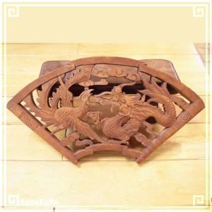 木彫り彫刻 クスノキ 彫刻板 M04 龍凰B 天然木 楠木 樟 手彫り 現品お届け|zakka-hanakura