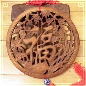 木彫り彫刻 クスノキ 彫刻板 L04 四季福円 天然木 楠木 樟 手彫り 中国結び 飾り付き 現品お届け|zakka-hanakura