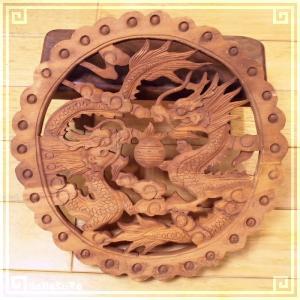 木彫り彫刻 クスノキ 彫刻板  L15 双龍 天然木 楠木 樟 手彫り 現品お届け|zakka-hanakura