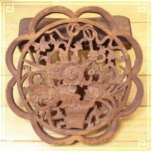 木彫り彫刻 クスノキ 彫刻板  L16 花枠花籠A 天然木 楠木 樟 手彫り 現品お届け|zakka-hanakura