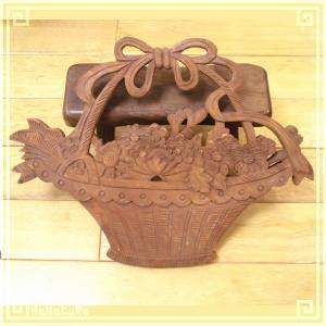 木彫り彫刻 クスノキ 彫刻板  Le01 花籠A 天然木 楠木 樟 手彫り 現品お届け|zakka-hanakura