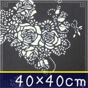藍染め ハンカチ 40cm A「薔薇舞蝶」 藍印花布 綿100% コットン 両面染め|zakka-hanakura