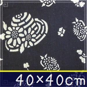 藍染め ハンカチ 40cm B「夏色帽子」 藍印花布 綿100% コットン 片面染め|zakka-hanakura