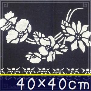 藍染め ハンカチ 40cm D「可憐野花」 藍印花布 綿100% コットン 両面染め|zakka-hanakura