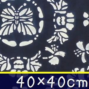 藍染め ハンカチ 40cm F「白蝶木蓮」 藍印花布 綿100% コットン 両面染め|zakka-hanakura