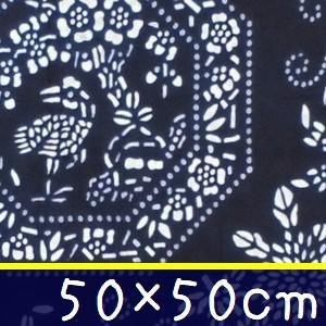 藍染め ハンカチ 50cm F「四君子鶴」 藍印花布 綿100% コットン 両面染め|zakka-hanakura