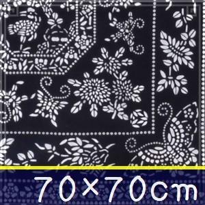 藍染め テーブルクロス 正方形 070cm A「四君子鶴寿」 藍印花布 綿100% コットン 両面染め|zakka-hanakura