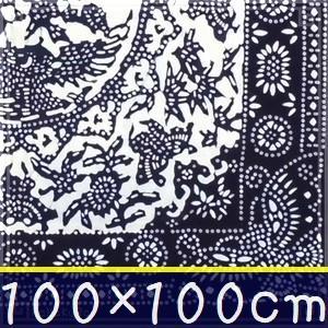 藍染め テーブルクロス 正方形 100cm C「双鳳花蝶」 藍印花布 綿100% コットン 両面染め|zakka-hanakura