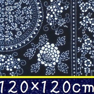 藍染め テーブルクロス 正方形 120cm B「雷紋百花」 藍印花布 綿100% コットン 両面染め|zakka-hanakura